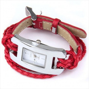 Best Desu 17322 Handmade Leather Bracelet Watch Red