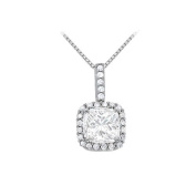 Fine Jewellery Vault UBNPD31480W14SQ66CZ April Birthstone Cubic Zirconia Halo Pendant in 14K White Gold