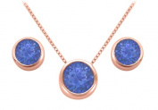 Fine Jewellery Vault UBUPDERV20AGVRRS September Birthstone Sapphire Pendant and Stud Earrings Set in 14K Rose Gold Vermeil
