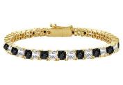 Fine Jewellery Vault UBBR14YSQPR700DBD Black and White Diamond Tennis Bracelet with 7CT Diamonds
