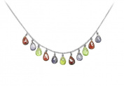Fine Jewellery Vault UBNC519AGVYMC Multicolor Gemstone Necklace in 925 Sterling Silver 7 CT TGW