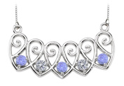 Fine Jewellery Vault UBPDS85613W14DTZ5 14K White Gold Tanzanites and Diamonds Mothers Necklace Mounting
