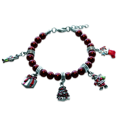 Whimsical Gifts 1301S-BR Christmas Charm Bracelet In Silver
