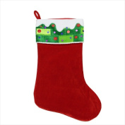 NorthLight 60cm . Red And Green Velvet Stocking With Velvet Cuff With Cord And Sequins
