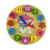 Koly Novelty Chidren Gifts Wooden Toy Digital Geometry Clock Learning Educational Toy Building Blocks
