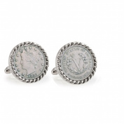 UPM Global LLC 12704 1883 First-Year-of-Issue Liberty Nickel Silvertone Rope Bezel Cuff Links