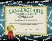 HAYES SCHOOL PUBLISHING H-VA585 CERTIFICATES LANGUAGE ARTS ACHIEVEMENT