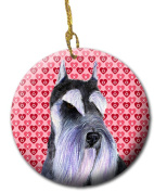 Carolines Treasures SS4477CO1 7.1cm x 7.1cm . Schnauzer Hearts Love and Valentines Day Ceramic Ornament