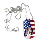 Carolines Treasures LH9014DT USA American Flag with Basset Hound Dog Tag