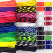Paracord Kit with 60m and 20 Buckles to Make 20 Paracord Bracelets Made in USA 250kg Type III 7 Strand Parachute Cord 20 Colours 3m Each