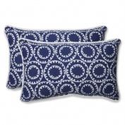 Pillow Perfect 568287 Ring a Bell Navy Rectangular Throw Pillow - Set of 2