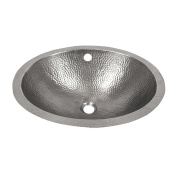 The Copper Factory Solid Hand Hammered Copper 48cm .X 41cm . Oval Undermount Lavatory Sink in Satin Nickel Finish - CF170SN