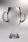Majestic Gifts T-740-10 Classic clear 25cm . High Quality Glass Vase Trophy With Handle