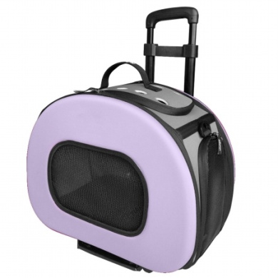 Pet Life B51PLMD Tough-Shell Wheeled Collapsible Final Destination Pet Carrier Purple - Medium