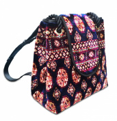 BACKPACK Bukhara Navy - Large Vintage-Style sack-shaped Backpack with flap