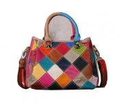 Multicolour Patchwork Real Leather Small Zip Bag Handbag Messenger