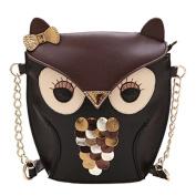 F.Dorla Cute Owl Print Satchel Messenger Shoulder Bag Handbag Cross Body Purse