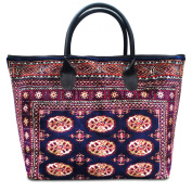 VOYAGER ELITE Bukhara Navy - Large and wide Vintage-Style Tote Bag with leather handles and zipper