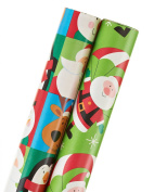 American Greetings Christmas Wrapping Paper, Juvenile Santa & Friends Blocks, Santa, 2-Roll