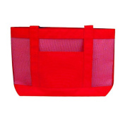 DDI 788963 600D Poly Shopping Tote with Nylon Mesh - Red Case Of 48