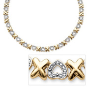 PalmBeach Jewellery 54048 Diamond Accent X and Heart Necklace in 18k Gold-Plated 43cm .