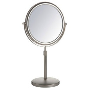 Jerdon Style JP4045N 22cm . 5X-1X Table Top Mirror Nickel Height Adjustable 42cm . to 50cm .