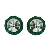 Vera & Co. Inc. 2S-6146EMCL Sterling Silver Stud Feriod Crystals Round Earring-White and Emerald