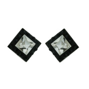 Vera & Co. Inc. 2S-6145BKCL Sterling Silver Stud Ferido Crystal Square Earring-Black and white