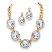 PalmBeach Jewellery 54583 2 Piece Crystal Curb-Link Necklace and Earrings Set in Yellow Gold Tone