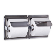 AJW UX76-BF Dual Bright Hooded Toilet Tissue Dispenser - Recessed