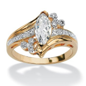 PalmBeach Jewellery 178567 1.03 TCW Marquise-Cut Cubic Zirconia Engagement Anniversary Ring in 14k Gold-Plated Size 7