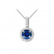 Fine Jewellery Vault UBUNPD31481W14CZS600 Fancy Round Sapphire and Cubic Zirconia Halo Pendant in 14K White Gold