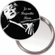 "Compact, Makeup Button Mirror with Edith Piaf image ""Je ne Regrette Rien"" (I Regret Nothing) delivered in a black organza bag."