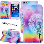 For iPhone 6 Plus / 6S Plus(14cm ), Urvoix(TM) Rainbow Dandelion Wallet Leather Case Cover [Picture w/ Card Holder] [Magnetic Stand] for 14cm iPhone 6Plus/6SPlus