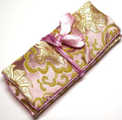Dusky Pink Gold Silk Abstract Print Make Up Bag/ Wrap /Jewellery Roll