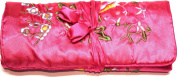 Hot Pink Embroidered Silk Floral Make Up Bag/ Wrap /Jewellery Roll