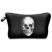 Mens Ladies Toiletry Bag Vanity case, make up, purse, pencil case, phone handbag, jewellery pouch NEW! Scull Black