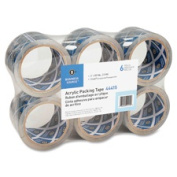 Business Source BSN44415 Packing Tape 7.6cm . x 17m 2.5Mil 6RL-PK Acrylic-Clear