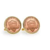 UPM Global LLC 12728 Lincoln Union Shield Penny Goldtone Rope Bezel Cuff Links