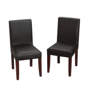 Childrens Espresso Chair Set With Upholstered Seat and Back
