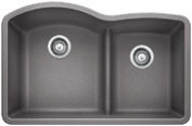 Blanco 441592 Diamond 4.4cm . Low Divide Undermount Kitchen Sink - Methalic Grey