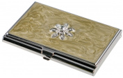 Visol V723B Visol Bloom Taupe Lacquer with Flower Crystals Womens Business Card Case