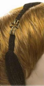 Accent Accessories 122356 Head Wrap Gold Cross With Charm - Black