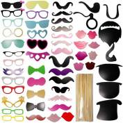 JJOnlineStore - 58Pcs Colourful DIY Props On A Stick Set Moustache Photo Booth Party Fun Wedding Birthday Xmas Christmas Celebration Memory Favour