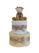 Blossom Two Tier Unisex Beige Nappy Cake / Baby Hamper / Baby Shower Gift / New Arrival Gift / Newborn Gift / Maternity Gift / FAST DISPATCH