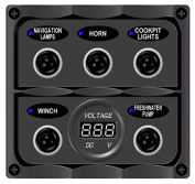 Bandc Marine Grade Boat 5 Way Toggle Switch Panel with Digital Battery Voltmeter for Rvs/boat/caravan