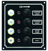 Invincible Marine LED 4-Switch Panel with Breaker and Booted Toggle Switches