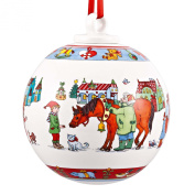 Hutschenreuther 02252-725484-27938 Large Bauble with Idyllic Christmas Design Porcelain in Gift Box