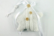 Star Hangers Plush/Fabric 6 pcs with Tape and Button White 14 cm Length 23 cm