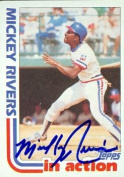 Autograph Warehouse 49110 Mickey Rivers Autographed Baseball Card Texas Rangers 1982 Topps In Action No .705